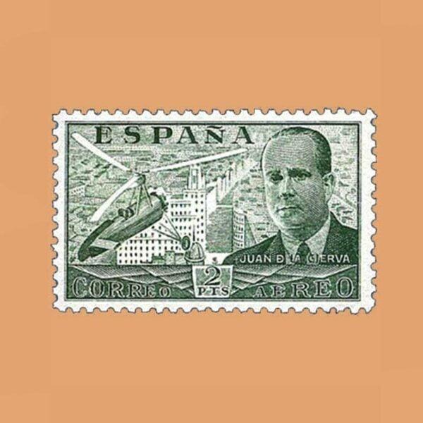 Edifil 885 Juan de La Cierva Sello 2ptas. 1939 verde