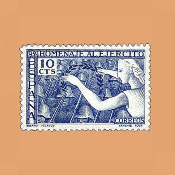 Edifil 887 Homenaje al ejército Sello 10cts. 1939 azul