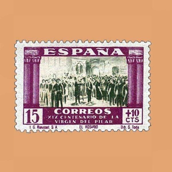 Edifil 890 XIX Centenario de la Virgen del Pilar Sello 15cts. lila y verde