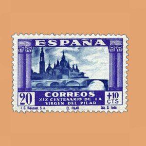 Edifil 891 XIX Centenario de la Virgen del Pilar Sello 20cts. + 10cts. 1940 violeta y azul