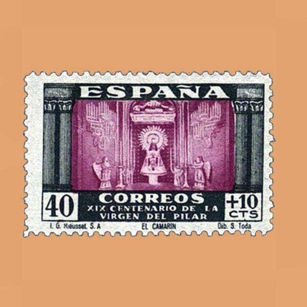 Edifil 893 XIX Centenario de la Virgen del Pilar Sello 40cts. + 10cts. 1940 verde y lila