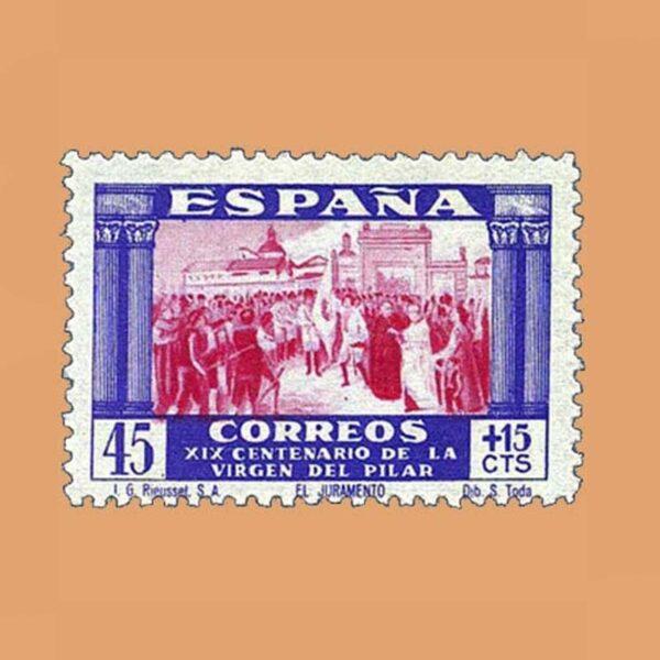 Edifil 894 XIX Centenario de la Virgen del Pilar Sello 45cts. + 15cts. 1940 violeta y carmín