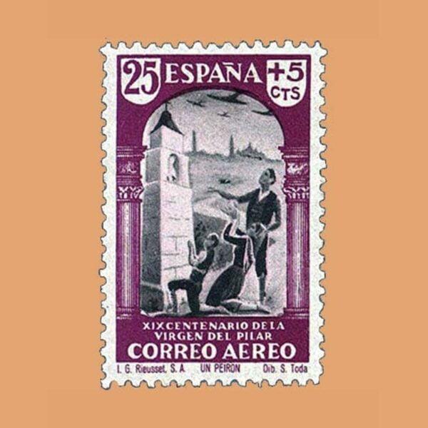 Edifil 904 XIX Centenario de la Virgen del Pilar Sello 25cts. + 5cts. 1940 lila y gris