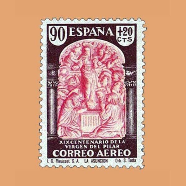 Edifil 908 XIX Centenario de la Virgen del Pilar Sello 90cts. + 20cts. 1940 castaño y rosa