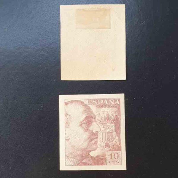 Edifil 920 General Franco Sello 10cts. Sin dentar. Sin apellido del grabador. 1940 castaño anaranjado. (*) Nuevo con fijasellos.