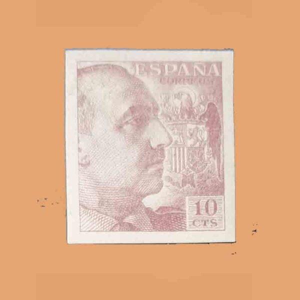 Edifil 920 General Franco Sello 10cts. Sin dentar. Sin apellido del grabador. 1940 castaño anaranjado