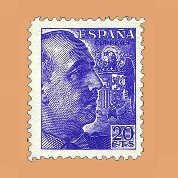 Edifil 922 General Franco Sello 20cts. 1940 violeta
