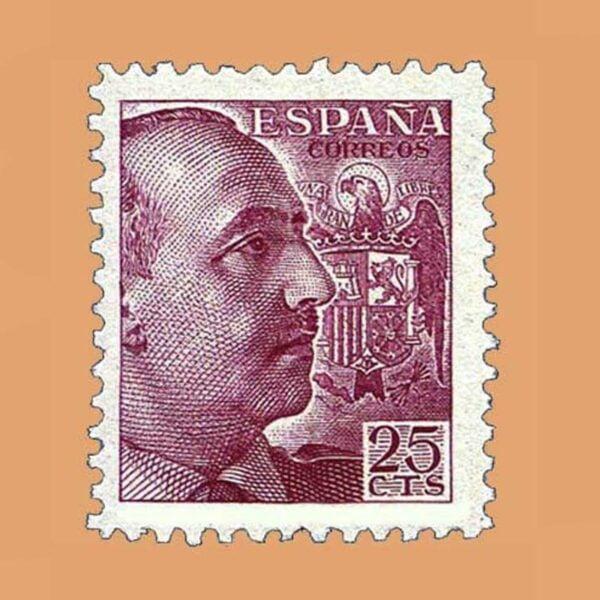 Edifil 923 General Franco Sello 25cts. 1940 carmín lila