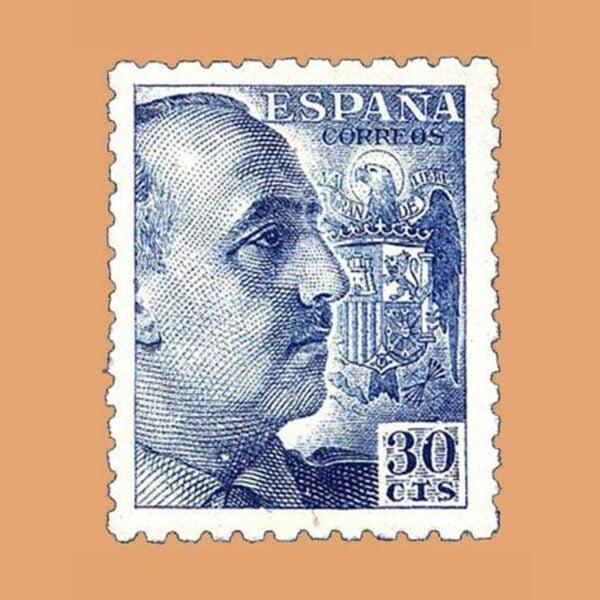 Edifil 924 General Franco Sello 30cts. 1940 azul