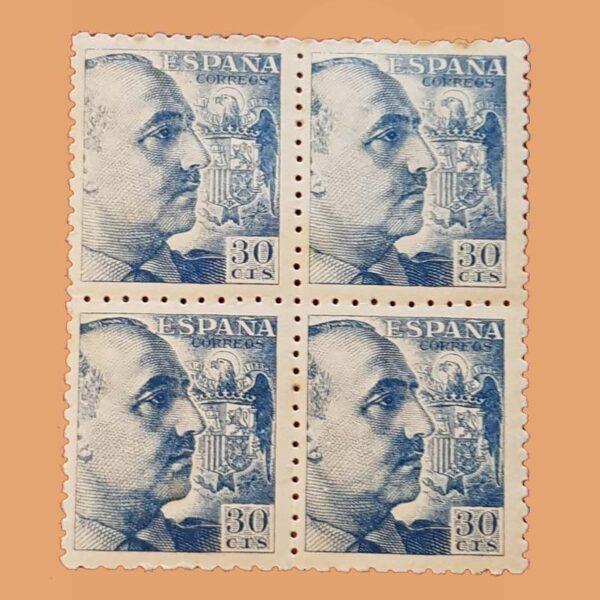 Edifil 924 General Franco Bloque 4 Sellos 30cts. 1940 azul