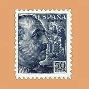 00927 General Franco Sello 50cts. 1940 gris