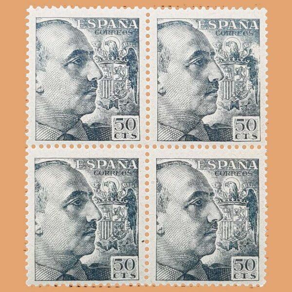 Edifil 927 General Franco Bloque de 4 Sellos 50cts. 1940 gris
