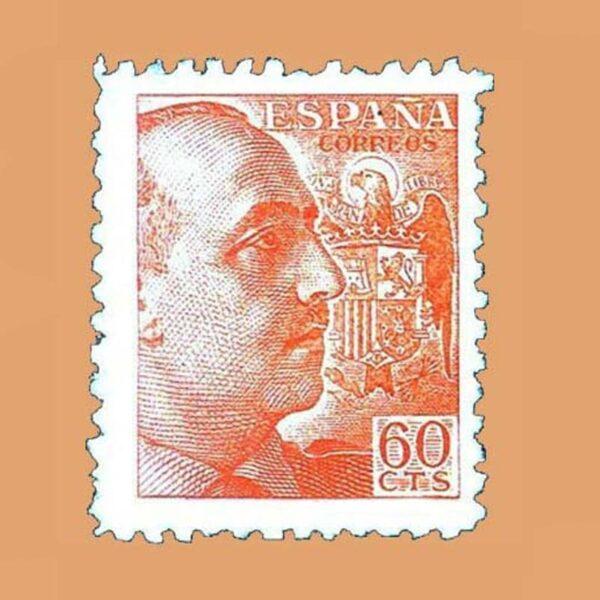 Edifil 928 General Franco Sello 60cts. 1940 naranja