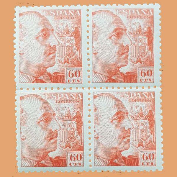 Edifil 928 General Franco Bloque 4 Sellos 60cts. 1940 naranja