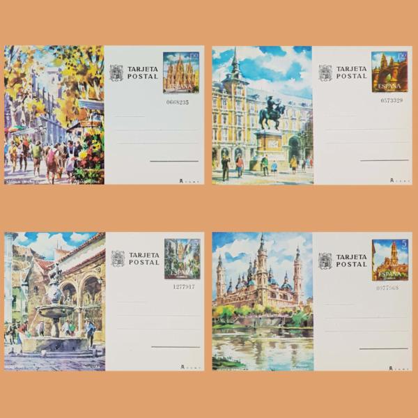 Enteros Postales 101-104. Turismo. Barcelona. Madrid, Córdoba, Zaragoza. 1973