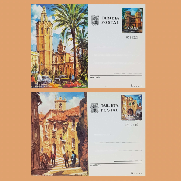 Enteros Postales 105-106. Turismo. Valencia, Cáceres. 1975
