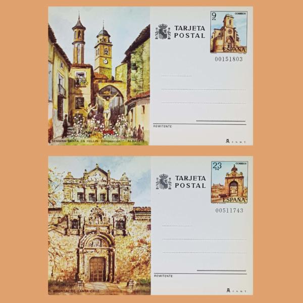 Enteros Postales 127-128. Turismo. Albacete, Toledo. 1982