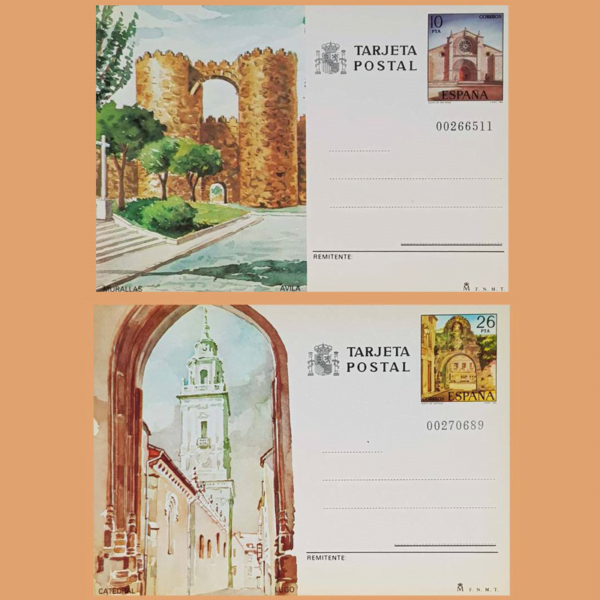 Enteros Postales 133-134. Turismo. Ávila, Lugo 1983