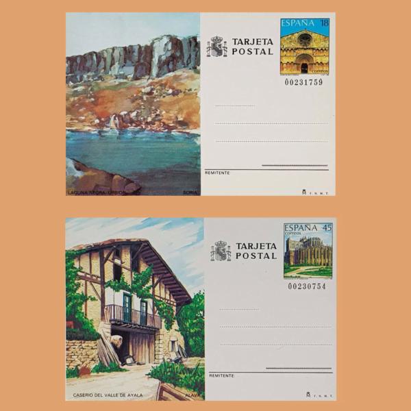 Enteros Postales 147-148. Turismo. Soria, Álava 1989