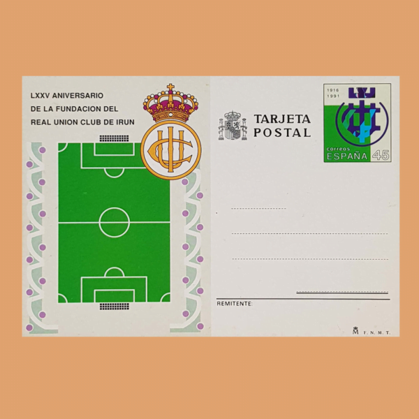 Enteros Postales 153. 75 Aniv. Real Unión Club Irún Fútbol 1991