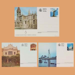Enteros Postales 160-162. Turismo. Valladolid, Lleida, Huelva 1996