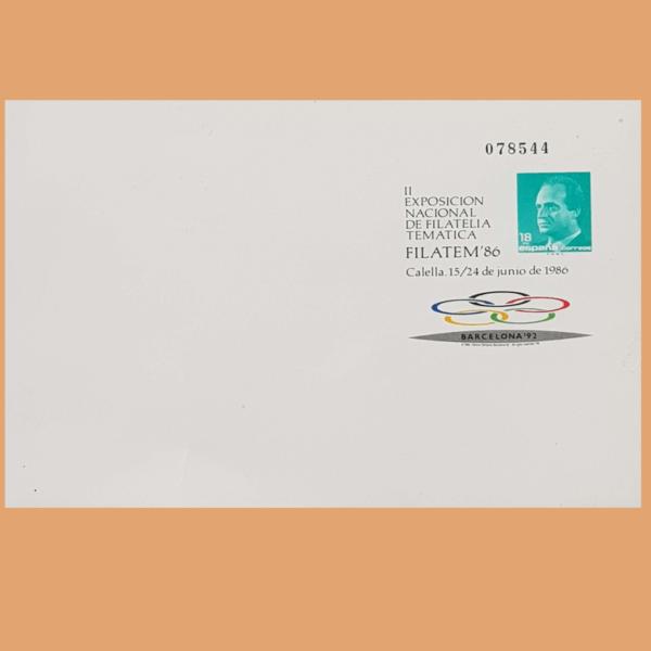 Sobre Enteros Postales 4. FILATEM 86. Calella, 15/24 Junio 1986