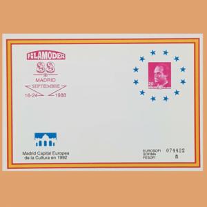Sobre Enteros Postales 11. FILAMODER 88. Madrid, 16-24 Septiembre 1988