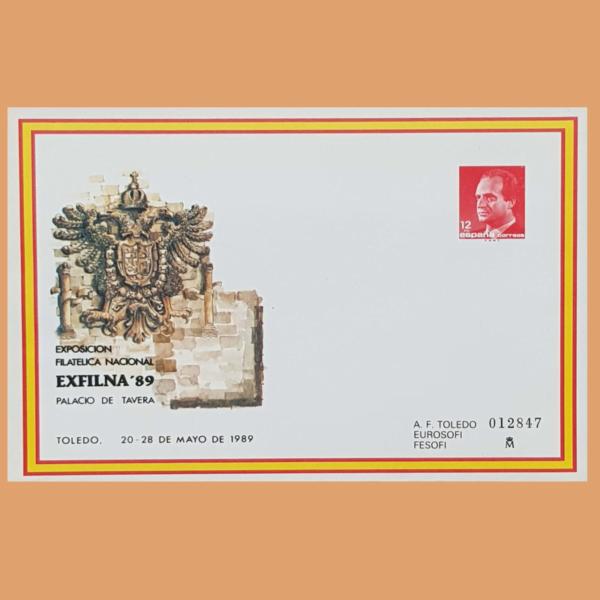 Sobre Enteros Postales 13. EXFILNA 89. Toledo 20-28 Mayo 1989