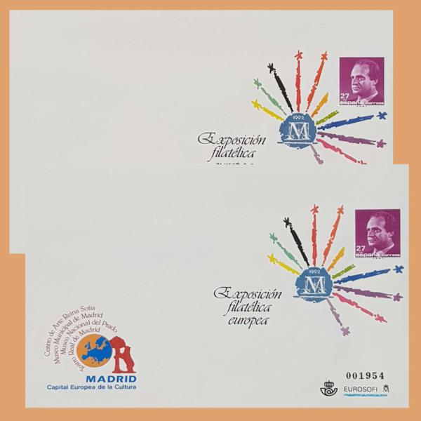 Sobre Enteros Postales 17-18. Exposición Filatélica Europea. Madrid 1992