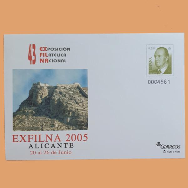 Sobre Enteros Postales 100. Exposición Filatélica Nacional EXFILNA 2005. Alicante