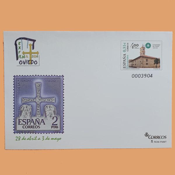 Sobre Enteros Postales 122. Exposición Filatélica Nacional EXFILNA 2008. Oviedo