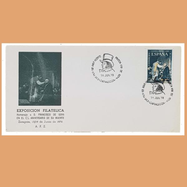 Sobre Exposición Filatélica. Goya. Zaragoza, 19 Junio 1978