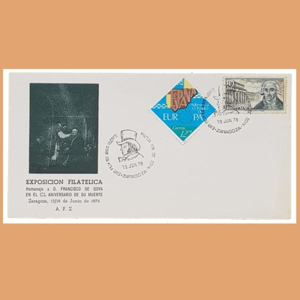 Sobre Exposición Filatélica. Goya. Zaragoza, 18 Junio 1978. SE0141