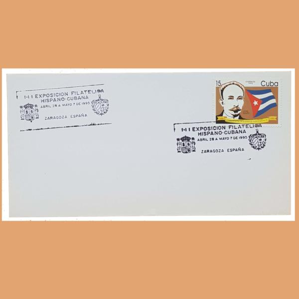 Sobre Exposición Filatélica Hispano Cubana. Zaragoza, 28/4 - 7/5 1995. SE0146