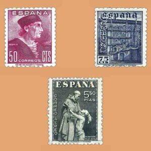 Edifil 1002-1004. Serie Día del Sello. Fiesta de la Hispanidad. 3 valores ** 1946