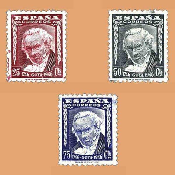 Edifil 1005-1007. Serie II Centenario del nacimiento de Goya. 3 valores ** 1946