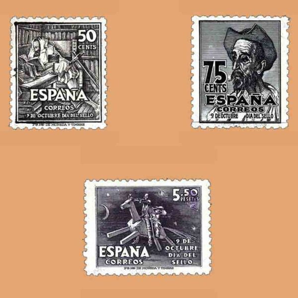 Edifil 1012-1014. Serie IV Centenario del nacimiento de Cervantes. 3 valores ** 1947