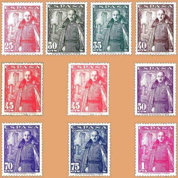 Edifil 1024-1032. Serie Franco y Castillo de la Mota. 10 valores. 1948
