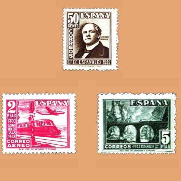 Edifil 1037-1039. Serie Centenario del Ferrocarril. 3 valores. ** 1948