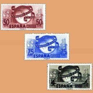 Edifil 1063-1065. Serie LXXV Aniversario de la Unión Postal Universal. 3 valores. ** 1949