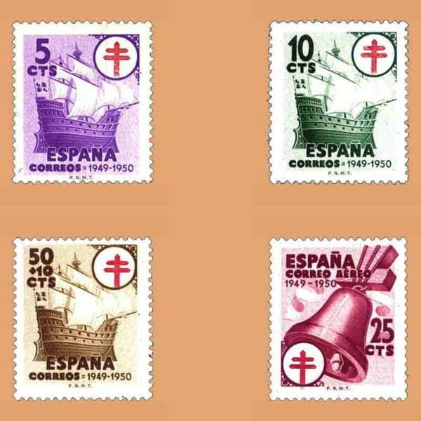 Edifil 1066-1069. Serie Pro tuberculosos. 4 valores. ** 1949