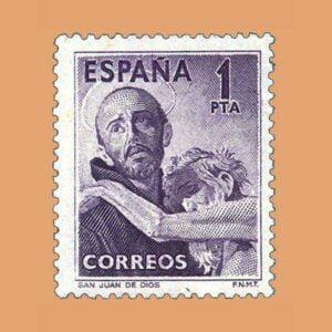 Edifil 1070. IV Centenario de la muerte de San Juan de Dios. Sello 1 pta. ** 1950