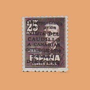 Edifil 1083. Visita del Caudillo a Canarias. Sello 25 p. + 10 cts. FALSO 1950