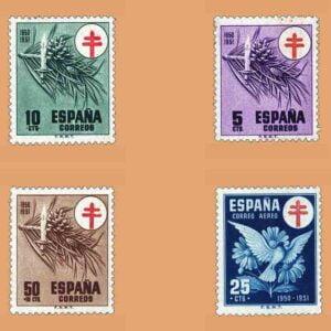 Edifil 1084-1087. Serie Pro tuberculosos. 4 valores. ** 1950