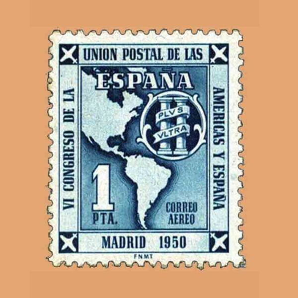 Edifil 1091. VI Congreso de la Unión Postal de las Américas y España. Sello 1 pta. ** 1951