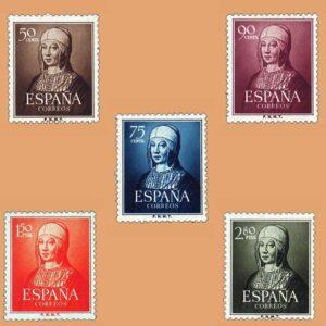Edifil 1092-1096. Serie V Centenario del Nacimiento de Isabel la Católica. 5 valores. ** 1951