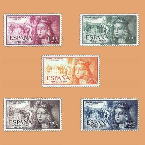 Edifil 1097-1101. Serie V Centenario de Isabel la Católica. 5 valores. ** Bien centrados. 1951
