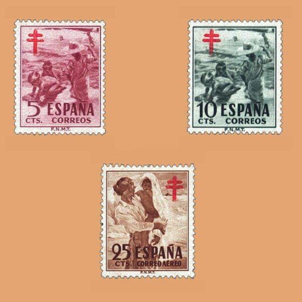 Edifil 1103-1105. Serie Pro tuberculosos. 3 valores. ** 1951