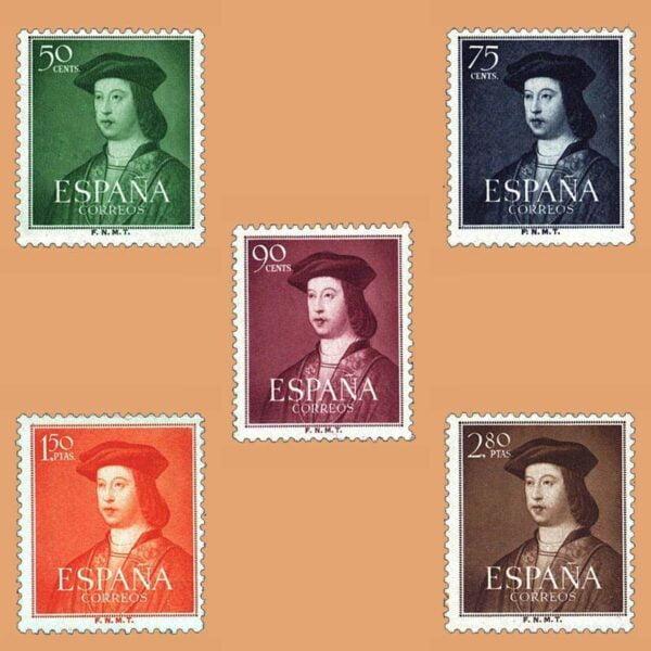 Edifil 1106-1110. Serie V Centenario del Nacimiento de Fernando el Católico. 5 valores. ** 1952
