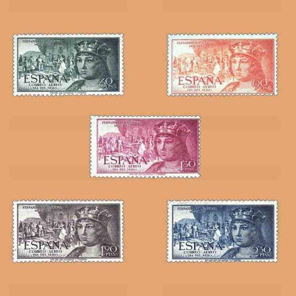 Edifil 1111-1115. Serie V Centenario de Fernando el Católico. 5 valores. ** 1952